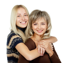Happy mother and teen daughter portrait, mother's day
