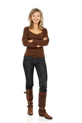 attractive caucasian middle 40 years old woman in brown sweater,