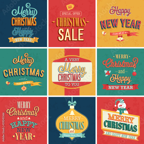 Set of Christmas and New Year vintage typographic emblems.