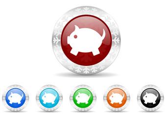 piggy bank icon vector set