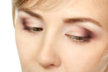 eyes makeup of mid adult woman