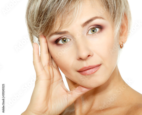 attractive mid adult woman, female face of beautiful caucasian m
