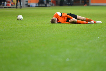 Soccer player have injury accident on football match