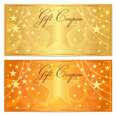 Gift certificate, Voucher, Coupon background. Gold stars