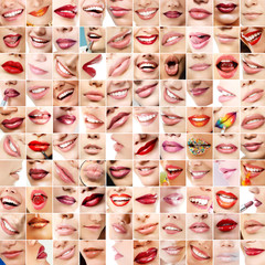 Perfect girl's lips. Collection of 100 beautiful woman's lips