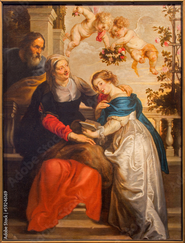 Antwerp -  Paint of Virgin Mary and St. Ann, and st. Joachim