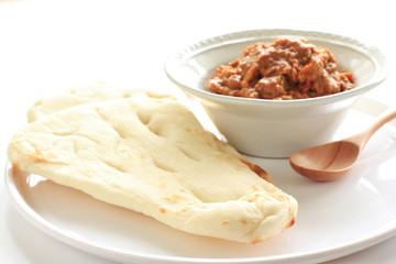 India cuisine, naan bread and keema curry