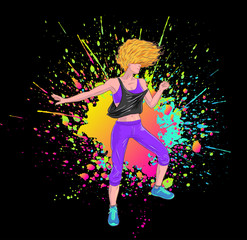 Blonde girl dancing Fitness Zumba, black background