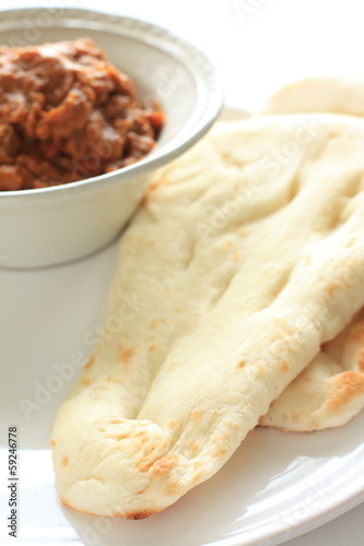 India cuisine, naan bread and keema curry