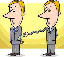 businessman and taxes cartoon