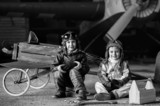 Young Aviators in aircraft in a hangar