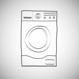 Washing machine. Hand drawn sketch