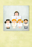 Cute Angel and childrens first communion invitation card