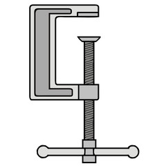vector drawing of a clamp