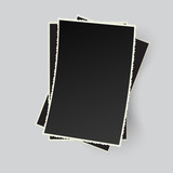 Stack of vector retro photo frames isolated