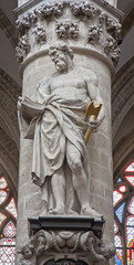 Brussels - Statue of st.Thadeus or Jude the apostle in cathedral