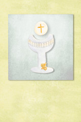 Cute chalice first communion invitation card