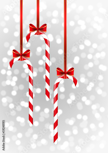 Christmas candies with red ribbon