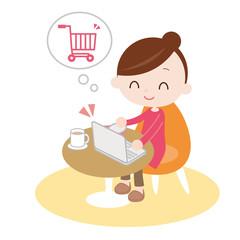 インターネットで買い物をする女性