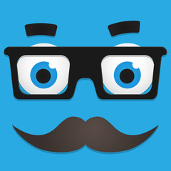 Hipster Avatar with Geek Glasses And Mustache