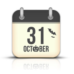 Halloween calendar icon with reflection. 31 October