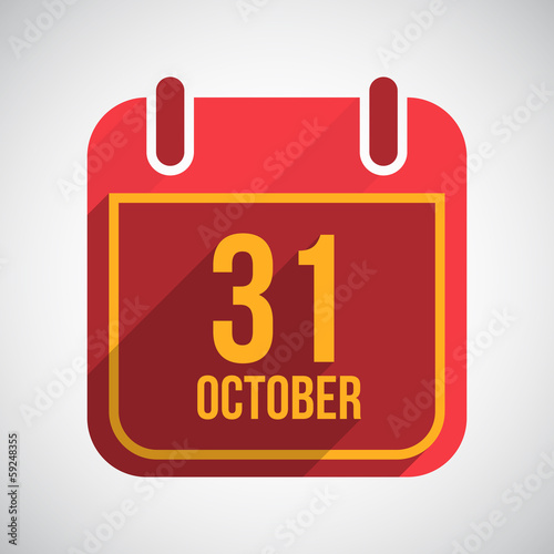 31 October Flat calendar icon with long shadow