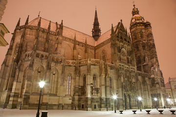 Kosice - Saint Elizabeth cathedral in winter evening.