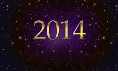 2014 sur fond d'étoiles