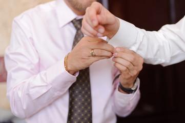Cuff Link on Groom's Sleeve