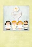 childrens and chalice  first communion invitation card, Backgrou