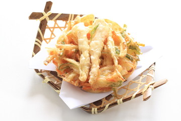 Japanese cuisine, bamboo shots Tempura for gourmet spring food
