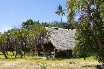 Hut on Funzi island in Kenya