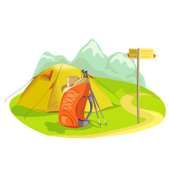 tent, backpack, mountain landscape