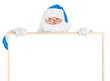 Blue Santa and empty white board