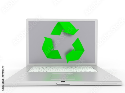 A Laptop With the Recycle Symbol in 3-d visualization