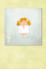 blonde girl  first communion invitation card