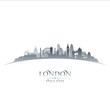 roleta: London England city skyline silhouette white background