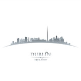 Dublin Ireland city skyline silhouette white background