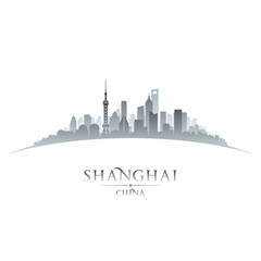 Shanghai China city skyline silhouette white background