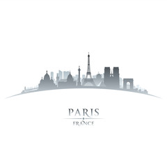 Paris France city skyline silhouette white background
