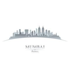 Mumbai India city skyline silhouette white background