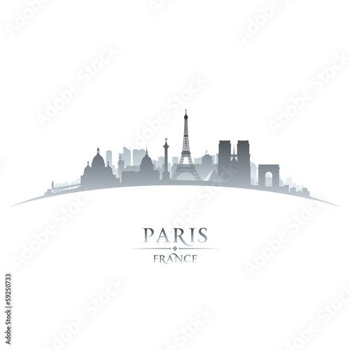 Fototapeta Paris France city skyline silhouette white background