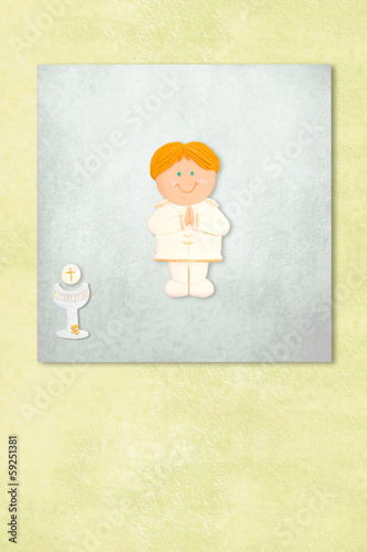 boy celebrating first communion invitation card