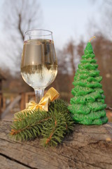 Champagne glass and candle tree