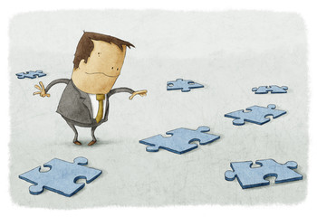 Business person searches to find solution