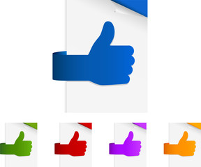 thumbs up shaped paper tags