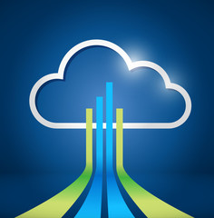 cloud computing network connections illustration
