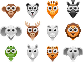 wild animals pointer icons