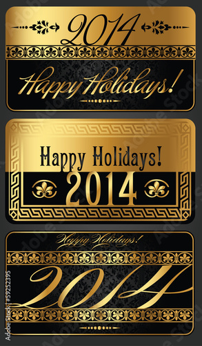 2014 New Year black and golden vector design