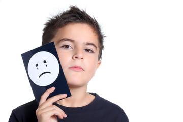 bambino serio con disegno faccia che piange